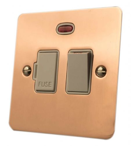 G&H FBC27W Flat Plate Bright Copper 1 Gang Fused Spur 13A Switched & Neon